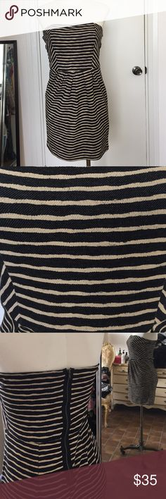 Striped Tube Dress Worn once! Exposed zipper in back. Navy & Cream Everly Dresses Strapless