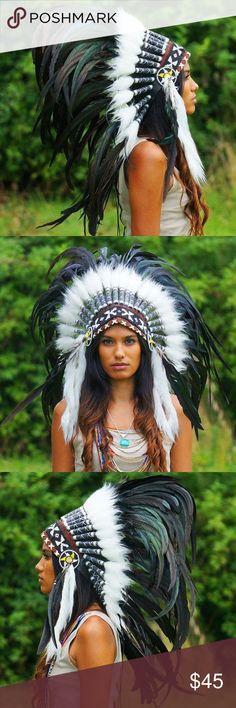 Indian Black Native Headdress Unisex Amazing Handmade Native Headdress - 75 cm length. Perfect for coachella, festivals and halloween dress up. NEW. Onesize fit. Accessories Hats