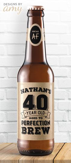 Cute personalized beer labels for someone who is turning 30, 40, 50, 60, 70, or 80! Directions: print the PDF, cut each label out and tape to beer bottle. Best results: remove current label and adhere when beverage is at room temperature.