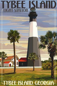 Tybee Island Light Station, Georgia - Lantern Press Poster