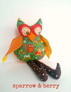 Owl Doll Decoration Plush Stuffed Fabric Child Friendly Toy Teal Orange Cloth Rag Softie Decor
