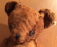 """Antique Stuffed Jointed TEDDY BEAR  16"""" Stitched Nose Hump Button Eyes"""