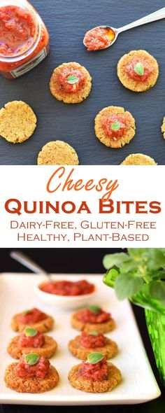 Cheesy Dairy-Free Quinoa Bites - plant-based, gluten-free, delicious, versatile, no fillers, and healthy little veggie patties!