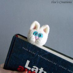 White cat bookmark Wool animal Cute cat kitten Fun reading Original accessory Bookworm geek teacher pupil school Book Gift for him and her by IlzesCreations on Etsy https://www.etsy.com/listing/270264811/white-cat-bookmark-wool-animal-cute-cat