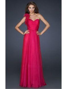 Fuchsia A-line Floor-length One Shoulder Dress