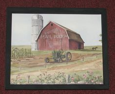 """PRIMITIVE COUNTRY MAIL POUCH BARN OLD GREEN TRACTOR 9"""" X 11"""" WALL DECOR #HANDCRAFTED"""