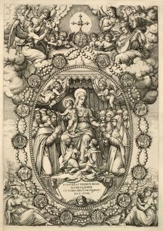 The feast of Our Lady of the Rosary, which celebrates the importance of the prayer beads in the Catholic Church.    The 16th century Italian engraving above shows Mary and Jesus handing out rosaries to children and members of religious orders. The scene is encircled by a rosary with fifteen medallions depicting the mysteries of the rosary.