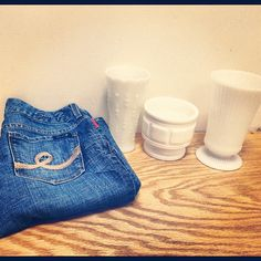 #thrifted finds seven jeans, 3 #milkglass one of them is made by #vintage e. o. Brody company!! #thriftstorefinds