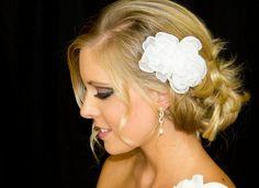 Bridal Hair Flower Duo in Organza 35 & 25 Inch by pureblooms, $20.50