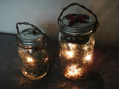 Firefly Latern on Etsy-- But a super easy DIY project. Mason jars with a small battery operated light string and some dried Spanish moss. Maybe even frost the glass and paint the lid for some added style.
