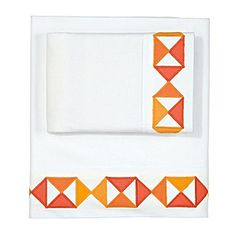 Appliqued triangle pillow cases. To make. Tangerine Flag Sheet Set | Serena & Lily