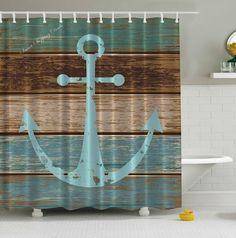 Anchor Shower Curtain Nautical Bathroom Curtains Blue Rustic Wood Bath Decor  #AnchorShowerCurtain