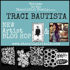 traci bautista for StencilGirl #mixedmedia #stencil collection