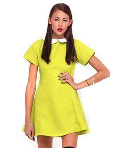 Motel Alice Skater Dress In Citrus Waffle