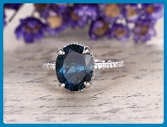 Natural VVS Topaz Engagement Ring,Solid 14K White Gold Band,Bridal Promise Ring,Halo Anniversary Ring,Oval London Blue Topaz,Claw Prongs - Wedding favors (*Amazon Partner-Link)