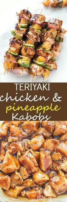 Easy Teriyaki Chicken & Pineapple Kabobs - Dinner cannot get any easier than these grilled kabobs! Packed with flavor from the marinade and threaded onto a skewer with pineapple chunks, red onions, and green bell peppers, then grilled to juicy perfection. Kabob Recipes, Grilling Recipes, Cooking Recipes, Healthy Recipes, Freezer Recipes, Freezer Cooking, Freezer Meals, Drink Recipes, Meat Recipes