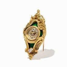 Emaillierte Uhrenbrosche mit Diamantbesatz, um 1950
