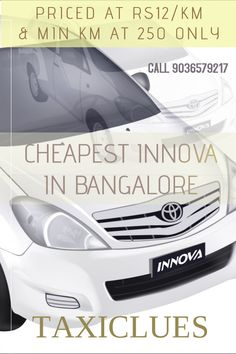 Cheapest chauffeur driven outstation Innova car rental from Bangalore.