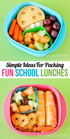 SCHOOL LUNCHES - Breaks over, back to packing lunches! Love these easy ideas for fun school lunches that the kids will actually be excited to eat. Cold Lunches, Toddler Lunches, Lunch Snacks, Lunch Recipes, Baby Food Recipes, Healthy Snacks, Healthy Recipes, Healthy Eating, Kids Lunch For School