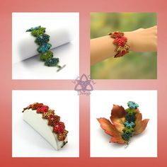 Pdf Tutorial Falling Leaves Bracelet with Super by IceniBeadDesign