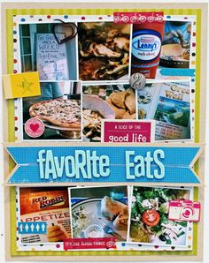Favorite eats Scrapbook or Smash book idea Disney Scrapbook, Travel Scrapbook, Scrapbook Cards, Cruise Scrapbook Pages, Scrapbook Photos, Project Life, Mini Albums, Studio Calico, Scrapbook Page Layouts