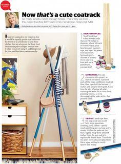 DIY wooden dowel Coatrack in Redbook - Emily Henderson