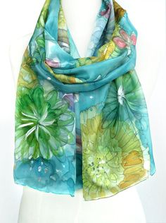 Turquoise Silk Shawl Hand Painted Scarf Teal Blue by TeresaMare, $39.00