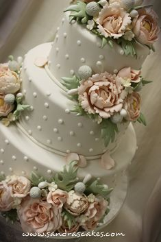 Victorian Flowers Wedding Cake by Sandra's Cakes.