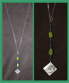 Lariat necklace with ArtClaySilver pendant