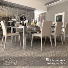 El gris es ideal para decorar la sala y comedor porque es tolerante, moderno y elegante en tonalidades brillantes y suaves. Prueba el diseño de la línea Thassos Travertine de Interceramic, piso silver esmaltado.