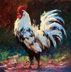Ruling the Roost by Cheri Christensen Oil ~ 16 x 16 Farm Animals, Animals And Pets, Chicken Painting, Rooster Art, Hummingbird Art, Pet Chickens, Still Life Art, Animal Paintings, Marine Life