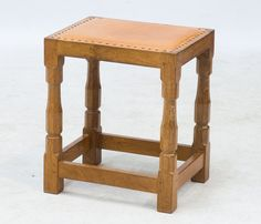 "A ROBERT ""MOUSEMAN"" THOMPSON OAK DRESSING TABLE STOOL"