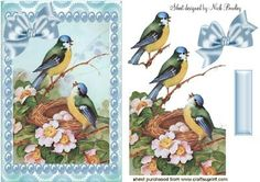 PRETTY BLUE BIRDS IN A NEST WITH PEARLS on Craftsuprint designed by Nick Bowley - PRETTY BLUE BIRDS IN A NEST WITH PEARLS, Makes a pretty card, lots of other birds to see, Also can be seen in pyramids - Now available for download!
