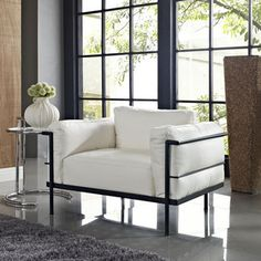 Modway Furniture Charles Grande Leather Armchair in White