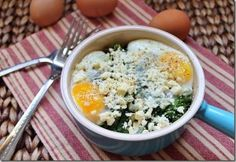 A layered kale and feta egg bake is perfect for quick and easy dinners.