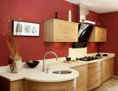 Wandfarbe Küche Ideen Ziegelrot Ahorn Schränke