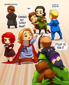 """Avengers babies <3. I love Nick Fury!! """"Motherfuckers"""""""