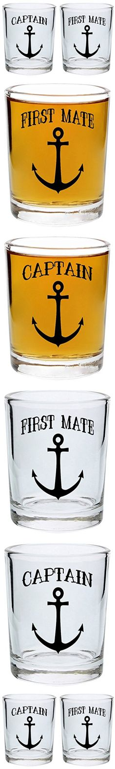 Bridal Shower Gifts Couples Shot Glasses Captain and First Mate Nautical Anchor Funny Wedding Gift for Newlyweds Couples Gift Shot Glasses 2-Pack Round Shot Glass Set Black