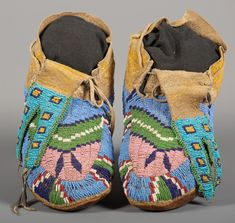 Gros Ventre/Assiniboine Beaded Moccasins | Old West Events Native American Moccasins, Canadian Culture, Beaded Moccasins, Paper Tags, Old West, Geometric Designs, Shades Of Blue, Art Pieces, Events