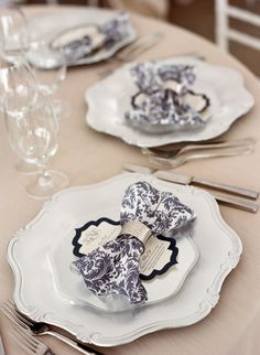 Baroque Style Plates with Navy Damask Napkins | Marni Rothschild Pictures https://www.theknot.com/marketplace/marni-rothschild-pictures-charleston-sc-257033 | EventWorks https://www.theknot.com/marketplace/eventworks-north-charleston-sc-336094 | Lowndes Grove – Charleston, South Carolina https://www.theknot.com/marketplace/lowndes-grove-charleston-sc-215167 | Southern Protocol Wedding Planning https://www.theknot.com/marketplace/southern-protocol-charleston-sc-273891 |