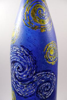 Starry Night Painted Recyled Wine Bottle by Reckcreations on Etsy