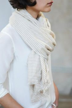 Scarf | This isn't knitted but maybe similar thin stripes and colour palette: soft white and pale grey in knitted? (rha)