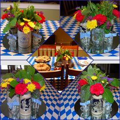For an Oktoberfest party, I filled four vintage German beer steins with flowers on a mirrored tray. I added Bavarian flags to four small Federal shot glasses as a table centerpiece.