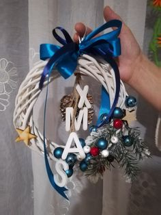 Blue & white Christmas wreath.