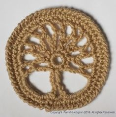 FREE Tree of Life Applique Motif pattern (Crochet) - Pinned by intheloopcrafts.blogspot.co.uk