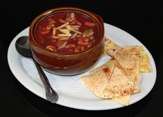 Fake Food Bowl of Chili and Chips on Plate