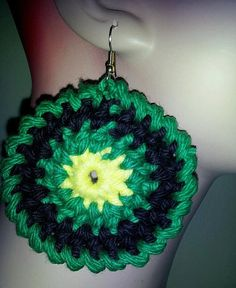 Green Black and Yellow Circle Earrings by RockThis50 on Etsy, $12.00