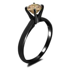 0.76ct Brown Round Diamond Solitaire Engagement Ring 14k Black Gold. $1,350