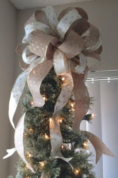 Burlap and Gold Tree Topper Bow  FREE SHIPPING  Christmas