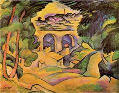 Georges Braque (1882 - 1963) | Cubism | Viaduct at Estaque - 1908